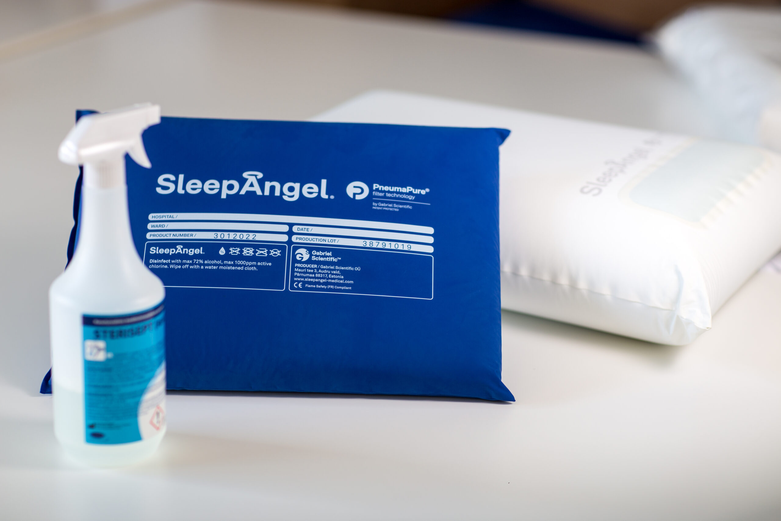 SleepAngel bedding products are available in Medical White and Royal Blue. Product can be cleaned by disinfecting